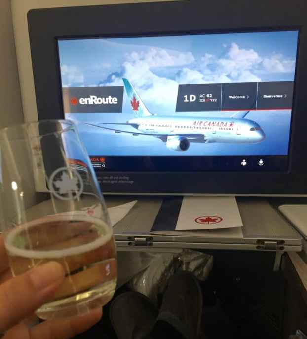 Air Canada Business class champagne