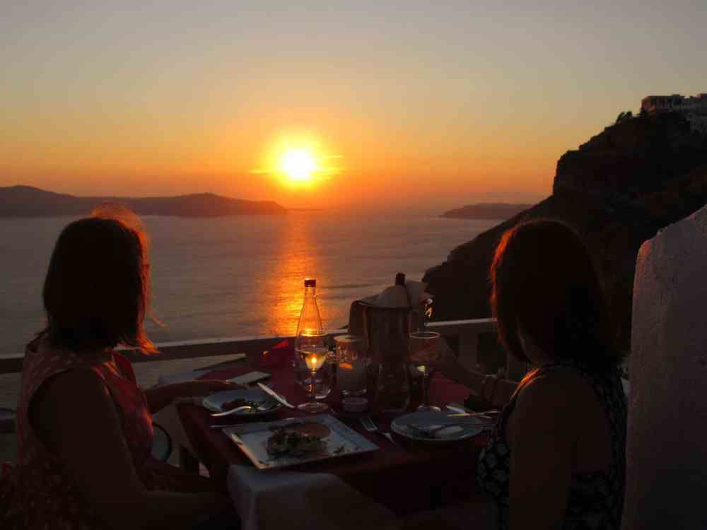 Coucher de soleil depuis Fira, Santorini