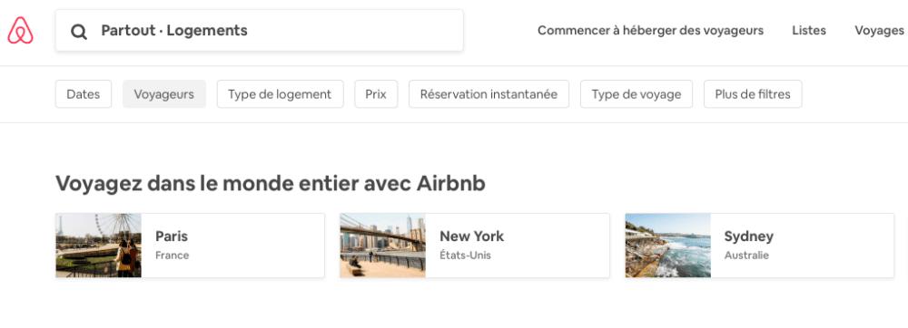 Outil barre de recherche sur Airbnb