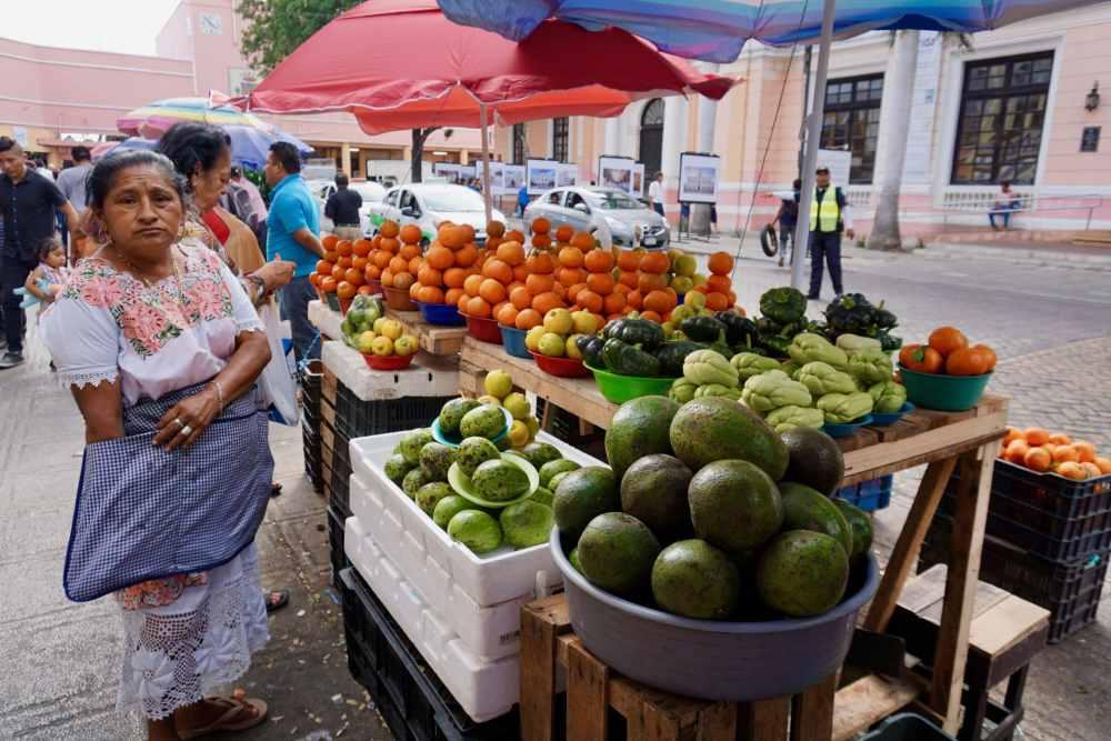 Vendeuse de fruits et légumes au Mercado Lucas de Gervès à Mérida au Mexique.