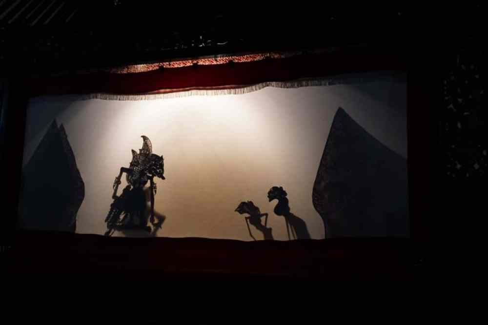 Théâtre d'ombre et ses marionnettes au Musée Sonobuduyo à Jogja, Java Indonésie