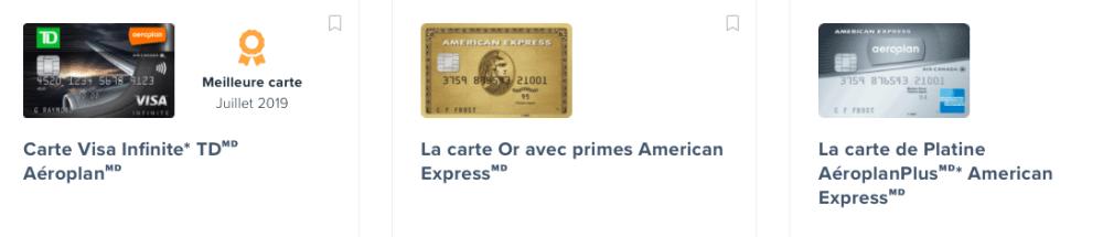 Cartes de crédit Aeroplan