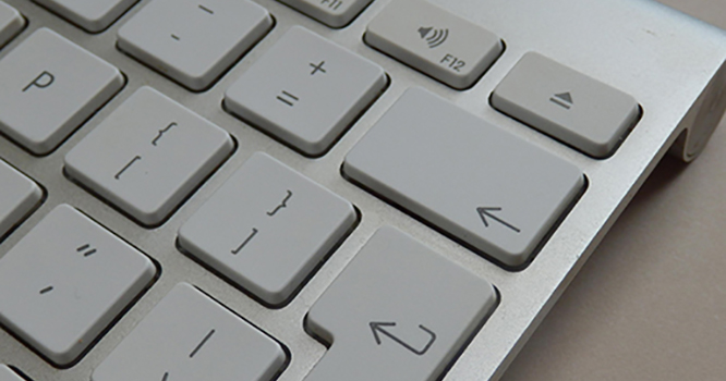 Keyboard focused on enter button