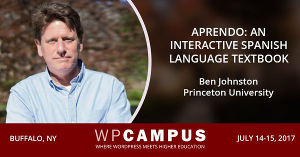Ben Johnston talk on Aprendo Spanish Text book, July 2017 poster