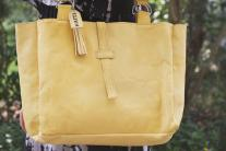 Butter yellow leather tote