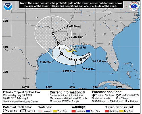 Tropical Storm Barry 5-Day Uncertainty Track Image