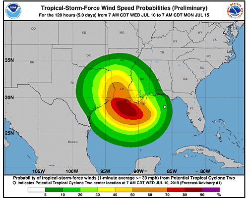 Tropical Storm Barry 34-Knot Wind Speed Probabilities