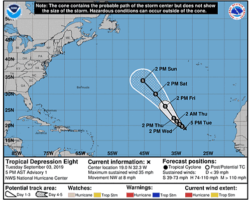 Tropical Storm Gabrielle 5-Day Uncertainty Track Image