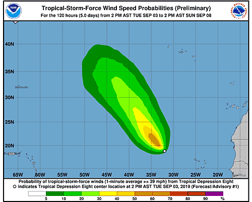 Tropical Storm Gabrielle 34-Knot Wind Speed Probabilities