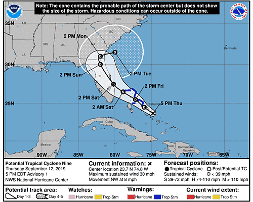 Tropical Depression Nine 5-Day Uncertainty Track Image