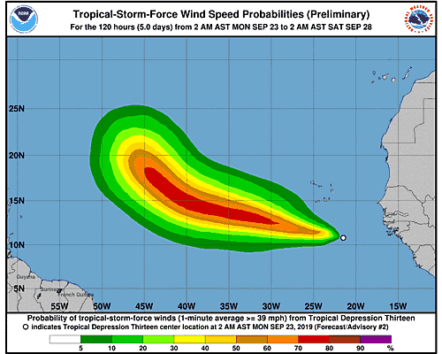 Tropical Storm Lorenzo 34-Knot Wind Speed Probabilities