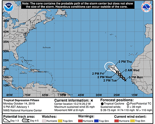 Tropical Depression Fifteen 5-Day Uncertainty Track Image