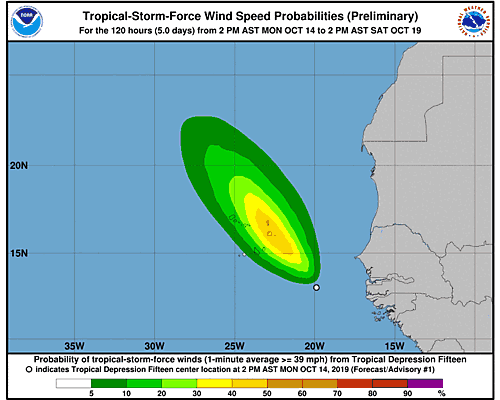 Tropical Depression Fifteen 34-Knot Wind Speed Probabilities