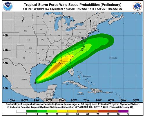 Tropical Storm Nestor 34-Knot Wind Speed Probabilities