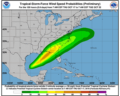 Post-Tropical Cyclone Nestor 34-Knot Wind Speed Probabilities