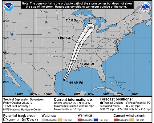Tropical Depression Seventeen 5-Day Uncertainty Track Image
