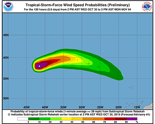Post-Tropical Cyclone Rebekah 34-Knot Wind Speed Probabilities