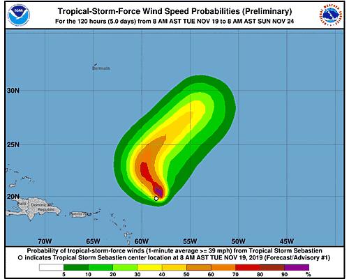 Post-Tropical Cyclone Sebastien 34-Knot Wind Speed Probabilities