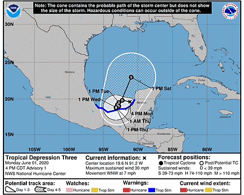 Tropical Depression Three 5-Day Uncertainty Track Image