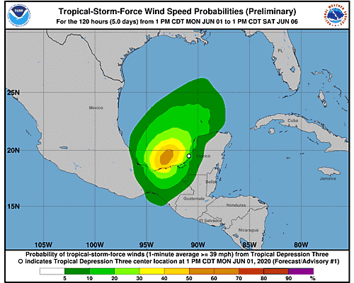 Tropical Depression Cristobal 34-Knot Wind Speed Probabilities