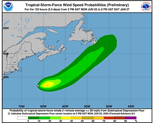 Subtropical Depression Four 34-Knot Wind Speed Probabilities
