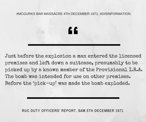 McGurk's Bar Disinformation: RUC Duty Officers' Report