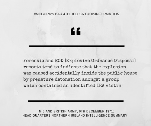 MI5 and British Army disinformation: McGurk's Bar