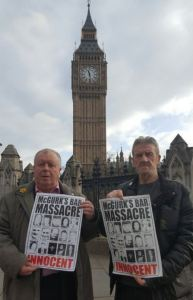 Police cover-up: McGurk's Bar campaigners Robert McClenaghan and Gerard Keenan lobbied politicians in London.