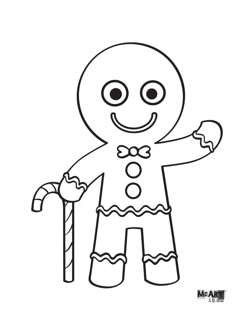 Gingerbread Man Coloring Page Mcillustrator