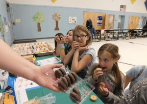 Sheri Samson From left, Girl Scouts Addison Newby, Athena Fortier and Syla Gibbons are offered Peanut Butter Sandwiches as they complete a taste test of all the 2016 Girl Scout cookie selections.
