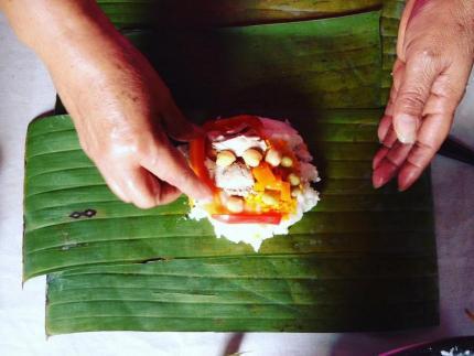 Ensamblaje y producto final de la tamaleada. Fotos: Prensa MCJ.