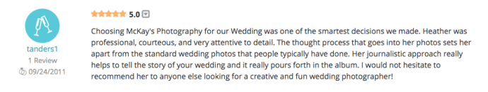Reviews and Testimonials of Rochester Wedding Photographer McKay's Photography