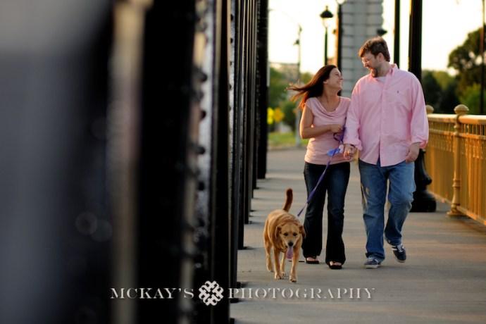 Engagement photo with dog