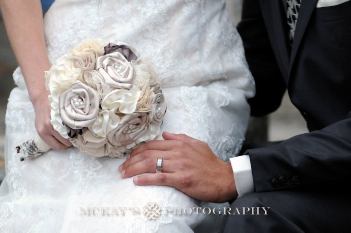 eco friendly wedding bouquet made out of silk fabric