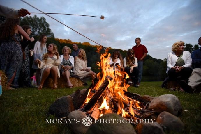 S'mores and bonfire at backyard wedding