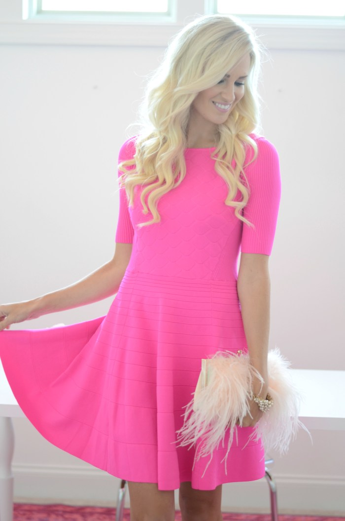 kate spade, pink dress, glitter heels, girly dress