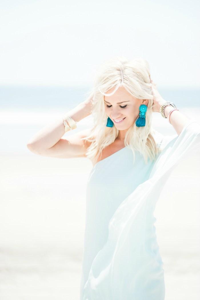 999413eb0d5d H&M Maxi Dress | H&M Turquoise Earrings | MAC Snob Lipstick | MAC Pink  Nouveau Lipstick | Stud Earrings | Photos by Reality and Retrospect