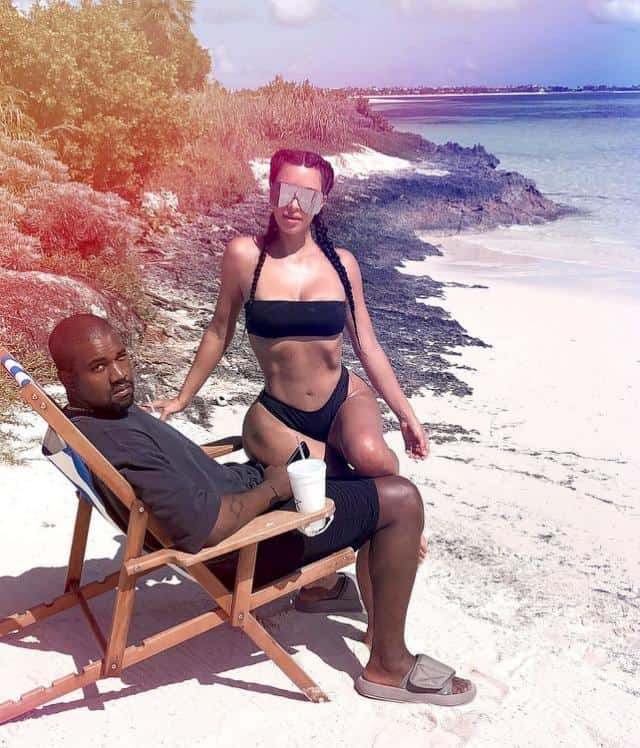 Kanye West 'Just Likes to Sleep on Vacay' But Kim Kardashian Made Him Pose for a Sexy Beach Pic