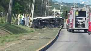 Passengers Injured After Bus Overturns in Montego Bay