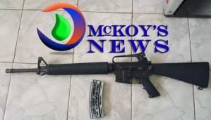 M – 16 RIFLE SEIZED IN GREEN POND AFTER GUN MEN RAN