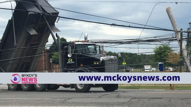 Utility Pole Brought Down by a Truck Resulted in Traffic Delays In Montego Bay