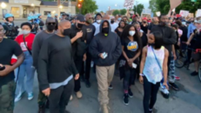 Kanye West spotted marching with George Floyd protesters in Chicago