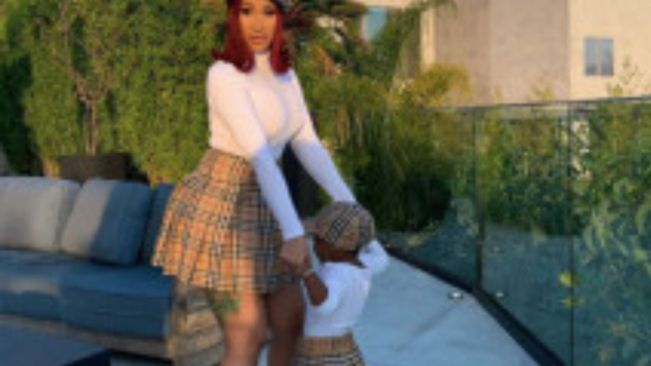 Cardi B and daughter Kulture wear matching Burberry berets and skirts