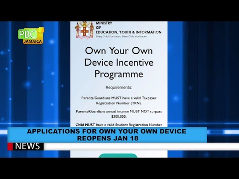 Applications For Own Your Own Device Reopens Jan 18