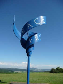 the memorial to peace at Point Alpha Stiftung; Peace, Freiden, and мир
