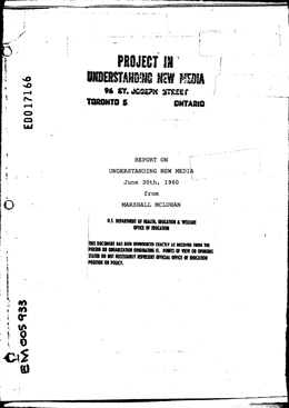 Report on Project in Understanding New Media (1960 ...