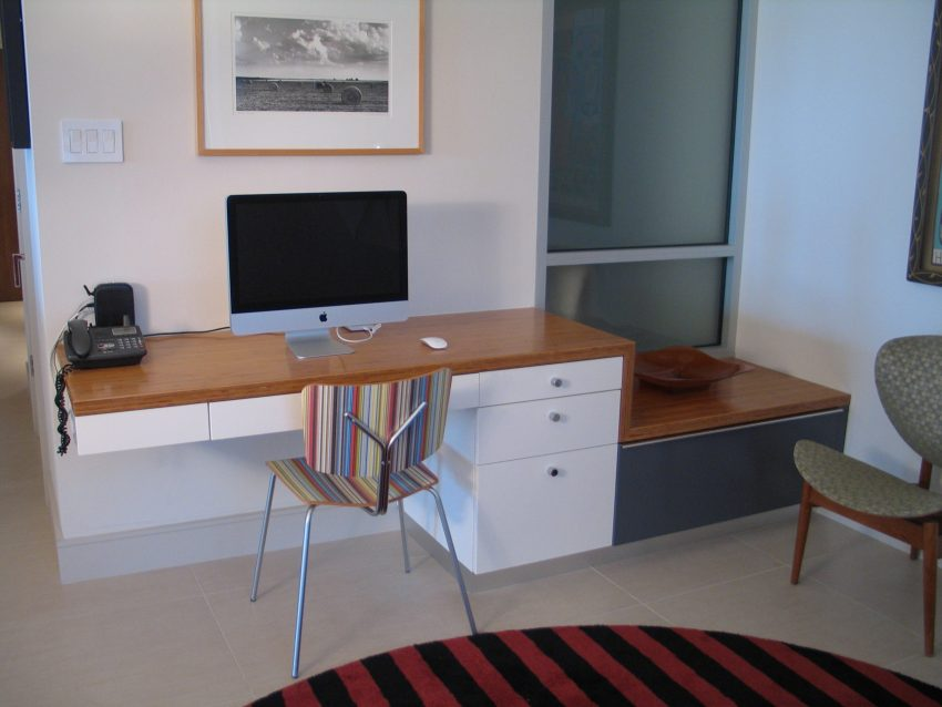 Modern built in desk and window seat with storage