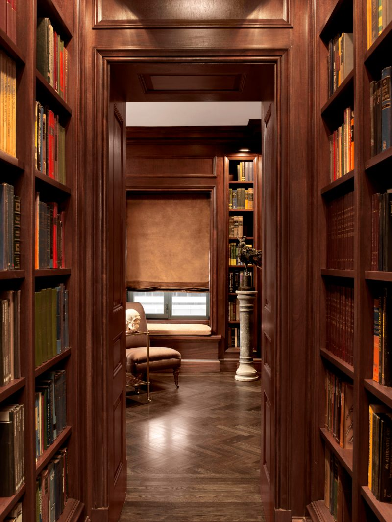 rich wood finish on library cabinets