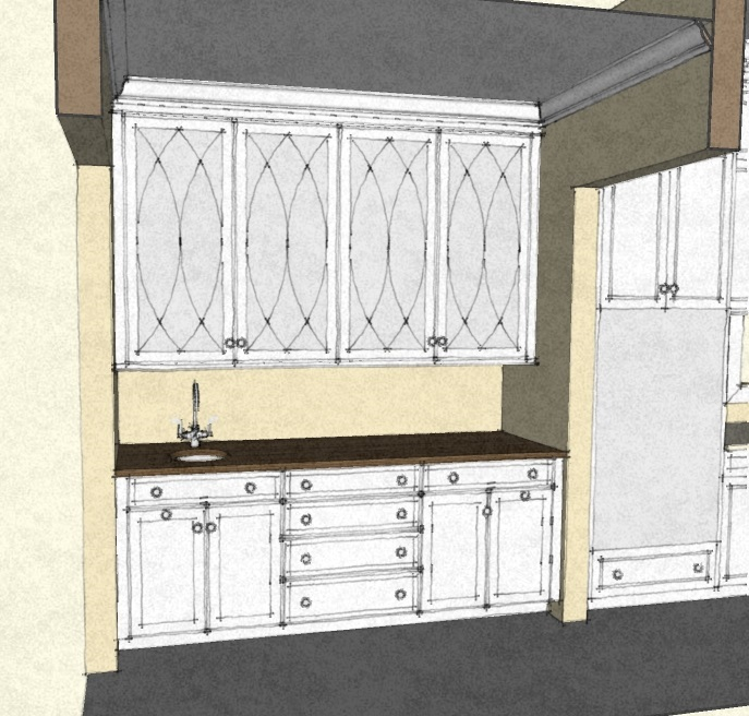 sketch butler's pantry cabinets