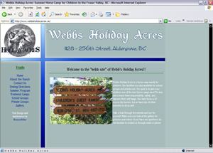 Webb's Holiday Acres - website circa 2005